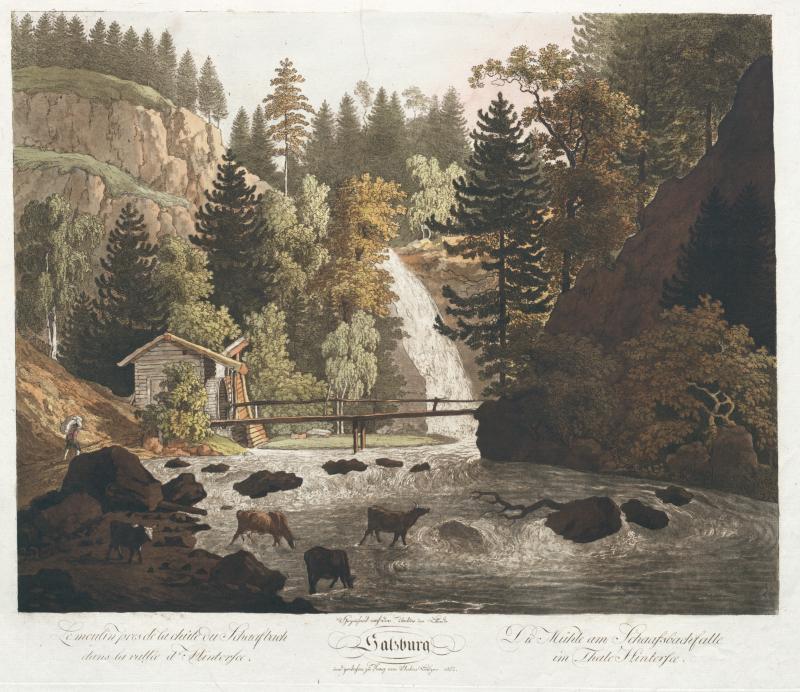 Anton Balzer, Die Mühle am Schaafsbachfalle im Thale Hintersee, 1803