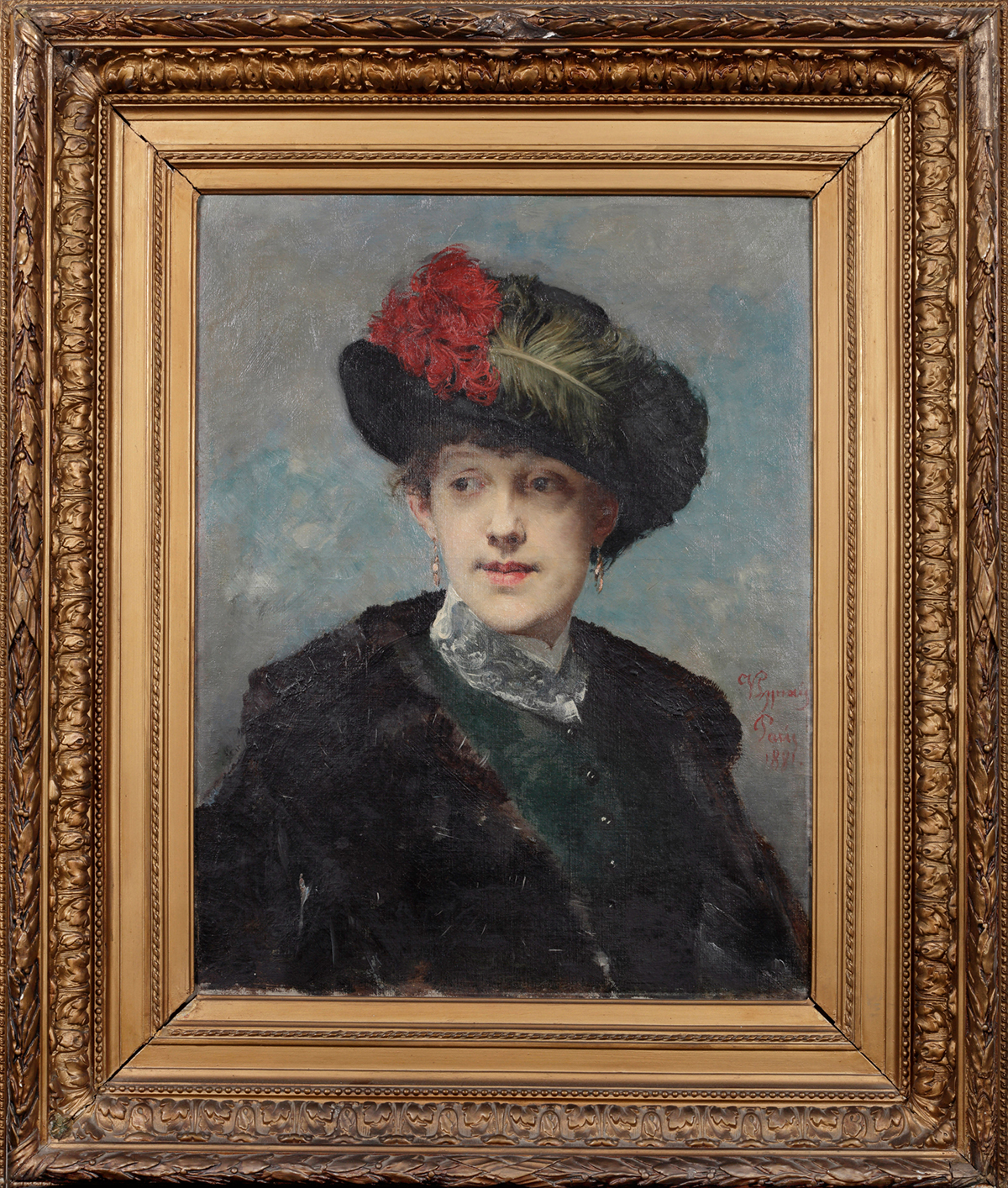 Vojtěch Hynais | Portrét dámy v klobouku